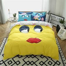 Funny Duvet Sets Cartoon Funny Design Yellow U0026white Kids Children Bedding Sets 3 4pc