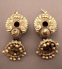 antique repousse south indian earrings india ancient to