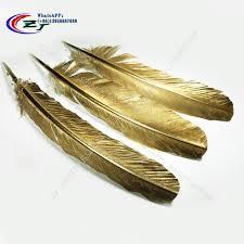 turkey feather painting wholesale 50pcs 25 30cm beautiful gold painting turkey feather craft