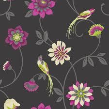 bird wallpaper home decor buy fine decor eden bird wallpaper black pink green