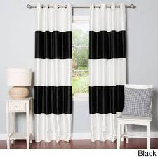 Grommet Kitchen Curtains Coffee Tables Kendall Color Block Grommet Curtain Panel White