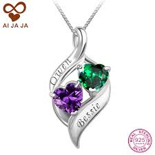 custom engraved heart necklace aijaja 925 sterling silver 2 names birthstones necklaces pendants