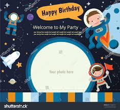 happy birthday invitation card design spaceman stock vector