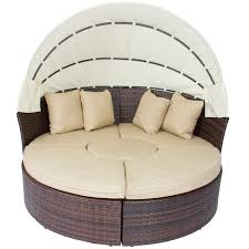 Outdoor Patio Sofa Furniture Round Retractable Canopy Daybed Brown - Round outdoor sofa