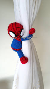 Where To Buy Curtain Tie Backs 1 Spiderman Crochet Curtain Tie Back Handmade Spiderman