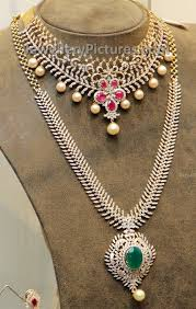 diamond long necklace images Simple diamond bridal long chain jewellery designs jpg