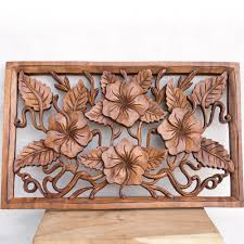 Indonesia Home Decor Lovely Relief Wood Panel Of Hibiscus Flowers Hand Carved Bali Decor