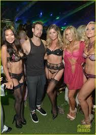 chloe bridges u0026 adam devine couple up for playboy party photo