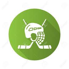 helmet design game hockey game equipment flat design long shadow icon hockey sticks