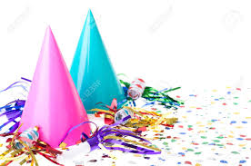 party hats two colorful birthday party hats with noisemakers and confetti