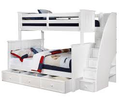 Brandon Bunk Bed Twin Over Full With Stairs In White Allen House - White bunk beds twin over full with stairs