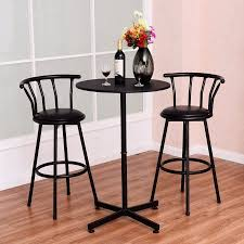 bar stool table set of 2 costway 3 piece bar table set with 2 stools bistro pub kitchen
