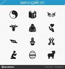 candeliere ebraico set di 12 icone di religione modificabile include simboli come