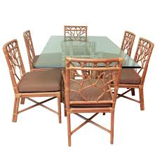 rattan dining table with chairs by ficks reed ebth