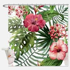 hibiscus shower curtains hibiscus fabric shower curtain liner