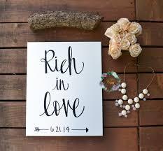 rich in love u201d wedding date canvas