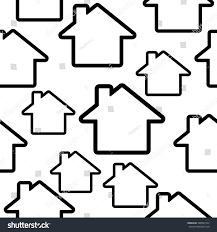 abstract symbols house seamless black white stock vector 388961542
