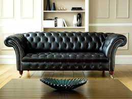 Midcentury Leather Sofa Affordable Mid Century Modern Couch With Tufts Backrest On Parquet