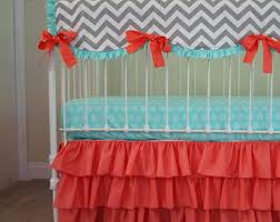 bumperless baby bedding mint coral chevron crib bedding with
