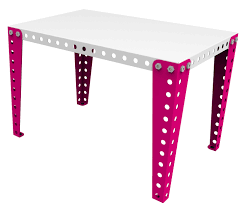 bureau 60 cm children s desk 90 x 60 cm top white legs pink by meccano home