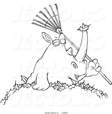 vector of a cartoon rhino holding a rake in a pile of leaves