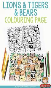 lions tigers bears free colouring kate hadfield designs