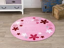 kinderzimmer teppich rund velours kinder teppich flower field rosa rund 100 cm 101939 teppiche