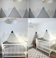 peindre mur chambre dessin montagne stylisé en couleur pour décorer les murs de la chambre
