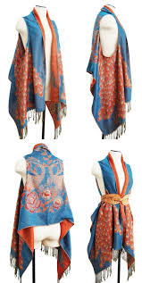 project diy draped vest made from a pashmina shawl modern colors