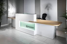 Modern Office Reception Desk White Reception Desk Design With Stylish Ceramic Floor For