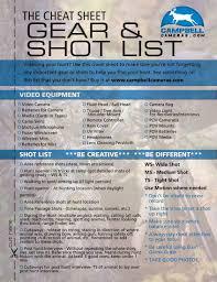 Tip Sheet For Your Creative Sheet Gear List Cbell Cameras Infocus