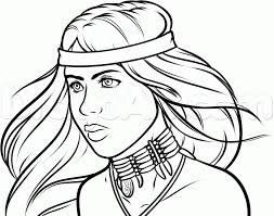 how to draw a native american step by step faces people free
