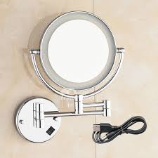 makeup mirror with led lights mirror with led lights 3x magnifying double sided silver