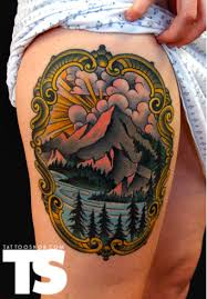 grand mountain tattoo on thigh tattoomagz