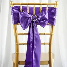 chair bows satin chair sash 6x106 purple 5pcs efavormart