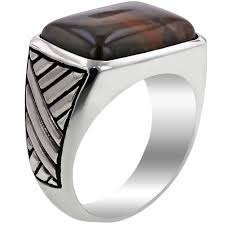 silver wood rings images Mans rectangular petrified wood ring in sterling silver jpg