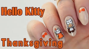 hand painted kitty thanksgiving nail tutorial