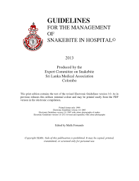 guidelines for the management of snakebite in hospital by slma issuu