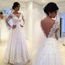 long sleeves white lace wedding dresses v neck beach wedding dress