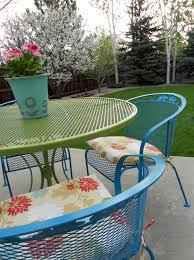 Turquoise Patio Chairs Just Another Hang Up Refurbishing Wrought Iron Furniture