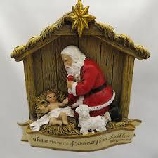 santa and baby jesus kneeling santa baby jesus manger christmas tree ornament new