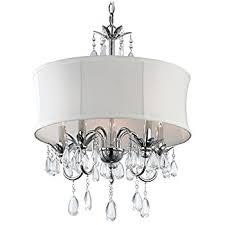 Drum Chandelier Lighting White Drum Shade Crystal Chandelier Pendant Light Ceiling