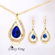 sapphire chain necklace images Free shipping wedding jewelry yellow gold color austrian crystal jpg