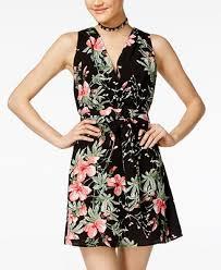 teeze me juniors u0027 floral print fit u0026 flare dress juniors dresses