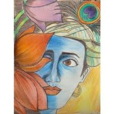 krishna color pencil sketch buy krishna color pencil sketch