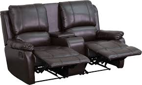 allure series 2 seat reclining pillow back brown leather theater