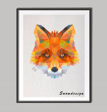 fox home decor low poly modern geometric fox head canvas painting wall art print