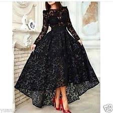black lace high low evening dress long sleeves party prom gown
