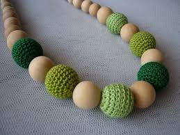 wood beads necklace designs images Organic wood bead necklace teething necklace greens crochet JPG