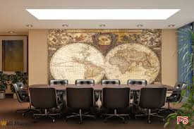 World Map Wallpaper Mural by Mural Old World Map In A Retro Frame